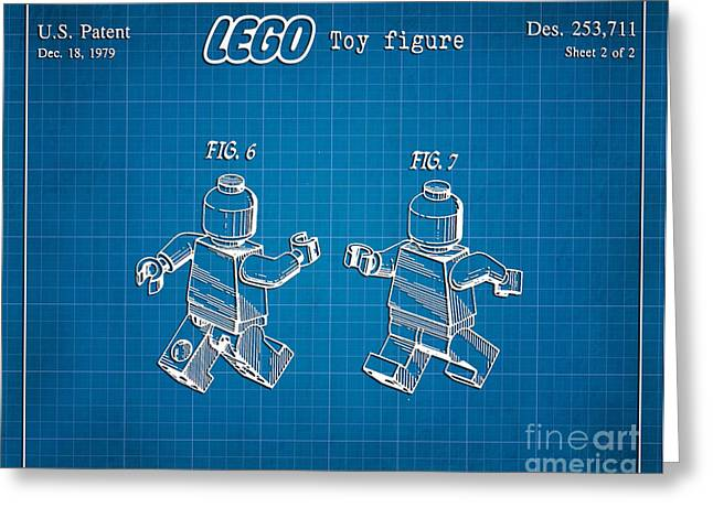 Lego Greeting Cards - 1979 Lego Minifigure Toy Patent Art 2 Greeting Card by Nishanth Gopinathan