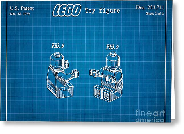 Lego Greeting Cards - 1979 Lego Minifigure Toy Patent Art 3 Greeting Card by Nishanth Gopinathan