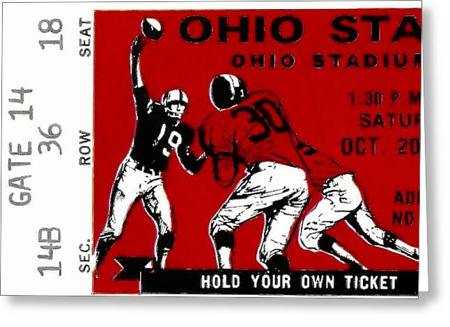 Sports Memorabilia Greeting Cards - 1979 Ohio State vs Wisconsin Football Ticket Greeting Card by David Patterson