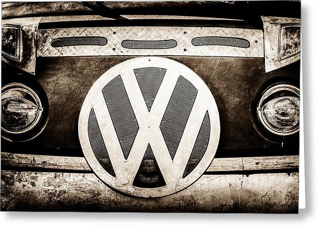 Bus Print Greeting Cards - 1979 Volkswagen VW Bus Emblem -0265s Greeting Card by Jill Reger