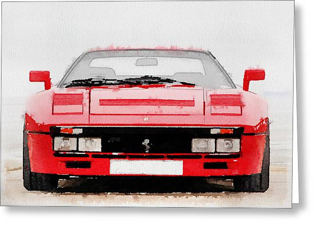 Ferrari Gto Classic Car Greeting Cards - 1980 Ferrari 288 GTO Front Watercolor Greeting Card by Naxart Studio