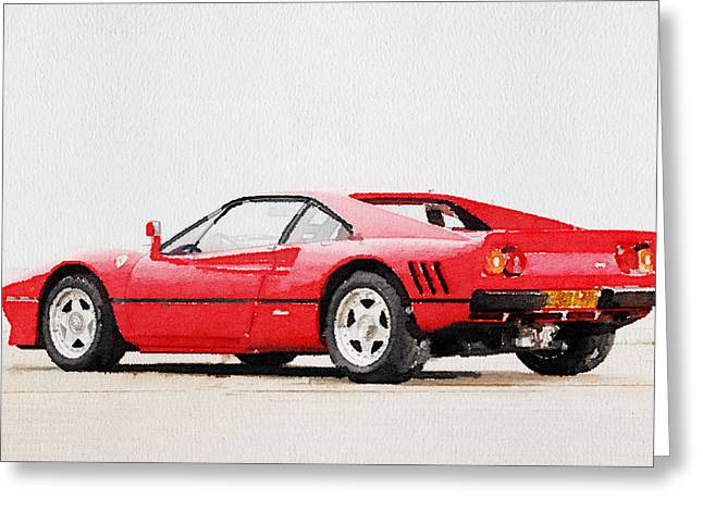 Ferrari Gto Classic Car Greeting Cards - 1980 Ferrari 288 GTO Watercolor Greeting Card by Naxart Studio