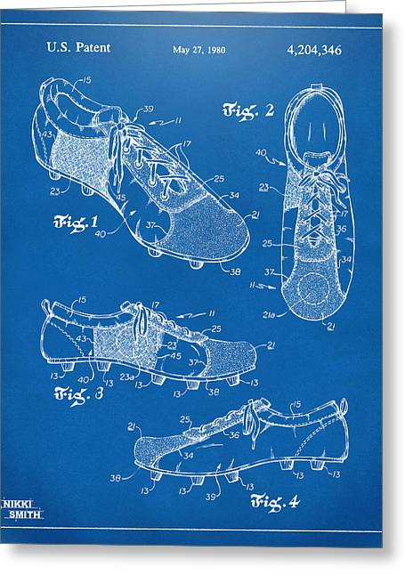 Mens Shoe Greeting Cards - 1980 Soccer Shoes Patent Artwork - Blueprint Greeting Card by Nikki Marie Smith