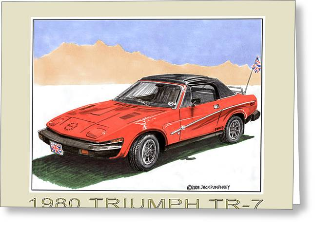 Overalls Drawings Greeting Cards - 1980 Triumph T R 7 Greeting Card by Jack Pumphrey