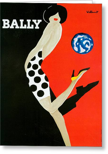 1980s Drawings Greeting Cards - 1980s France Bally Poster Greeting Card by The Advertising Archives