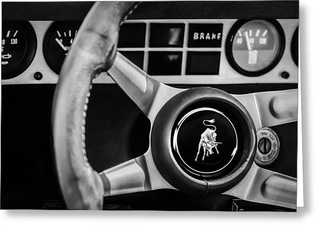 Steering Greeting Cards - 1982 Lamborghini Countach 5000S Steering Wheel Emblem -1549bw Greeting Card by Jill Reger