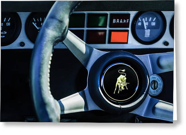 Steering Greeting Cards - 1982 Lamborghini Countach 5000S Steering Wheel Emblem -1549c Greeting Card by Jill Reger