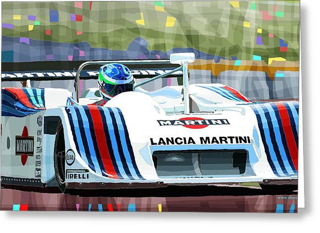 Digital Mixed Media Greeting Cards - 1982 Lancia LC1 Martini Greeting Card by Yuriy  Shevchuk