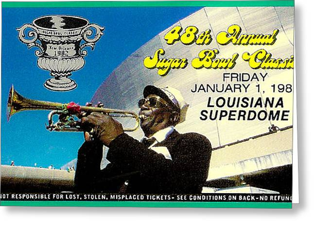 Sports Memorabilia Greeting Cards - 1982 Sugar Bowl Ticket Greeting Card by David Patterson
