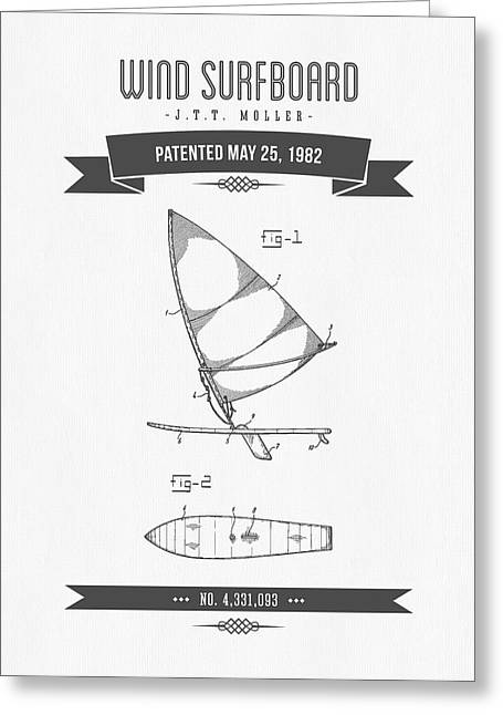 Surfer Art Greeting Cards - 1982 Wind Surfboard Patent Drawing - Retro Gray Greeting Card by Aged Pixel