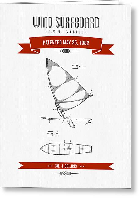 Surfer Art Greeting Cards - 1982 Wind Surfboard Patent Drawing - Retro Red Greeting Card by Aged Pixel