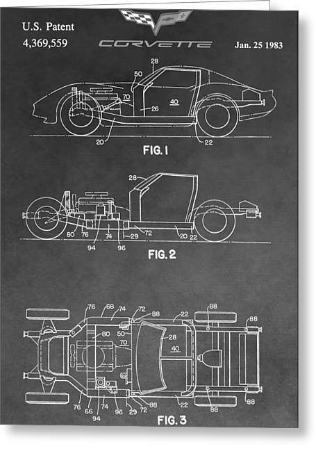 1983 Greeting Cards - 1983 Corvette Patent Greeting Card by Dan Sproul