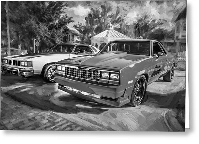 1983 Greeting Cards - 1983 El Camino 1976 Pontiac LeMans Painted BW Greeting Card by Rich Franco