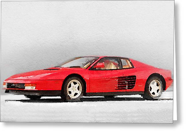 Classic Mixed Media Greeting Cards - 1983 Ferrari 512 Testarossa Greeting Card by Naxart Studio