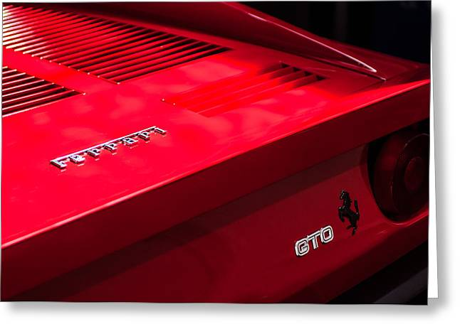 Ferrari Gto Classic Car Greeting Cards - 1985 Ferrari 288 GTO Taillight Emblem Greeting Card by Jill Reger