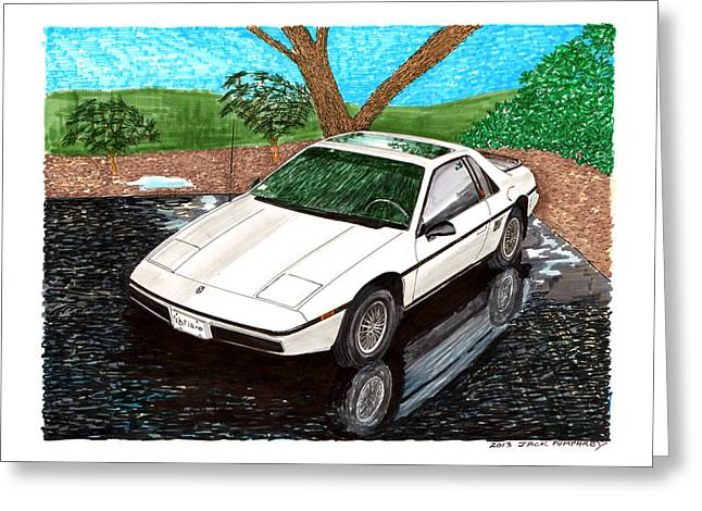 Pontiac Motors Division Greeting Cards - 1985 Pontiac Fiero reflections Greeting Card by Jack Pumphrey