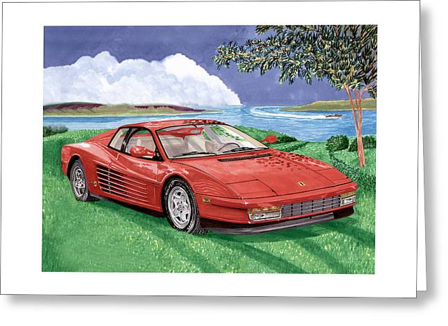 Cats Show Greeting Cards - 1987 Ferrari Testarosa Greeting Card by Jack Pumphrey