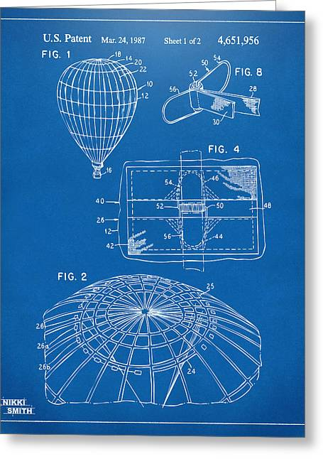 """hot Air Balloon"" Greeting Cards - 1987 Hot Air Balloon Patent Artwork - Blueprint Greeting Card by Nikki Marie Smith"
