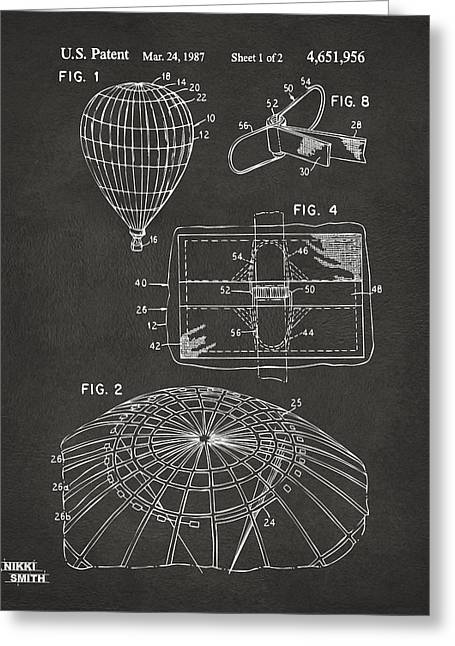 Balloon Greeting Cards - 1987 Hot Air Balloon Patent Artwork - Gray Greeting Card by Nikki Marie Smith