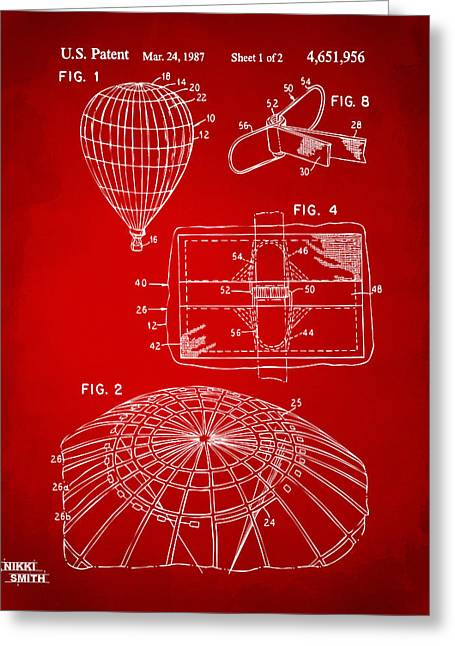 Balloon Greeting Cards - 1987 Hot Air Balloon Patent Artwork - Red Greeting Card by Nikki Marie Smith