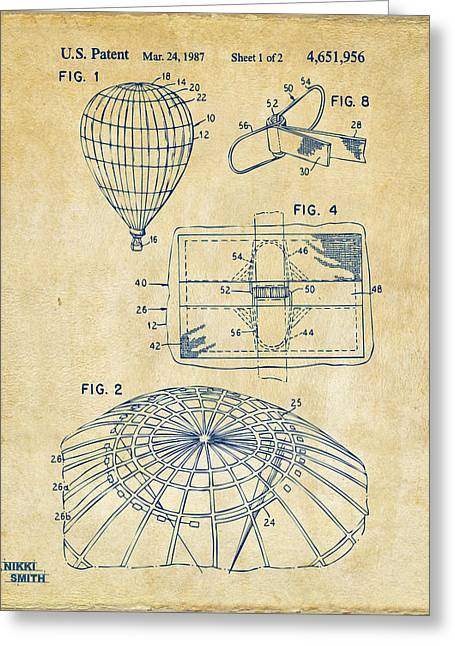 """hot Air Balloon"" Greeting Cards - 1987 Hot Air Balloon Patent Artwork - Vintage Greeting Card by Nikki Marie Smith"