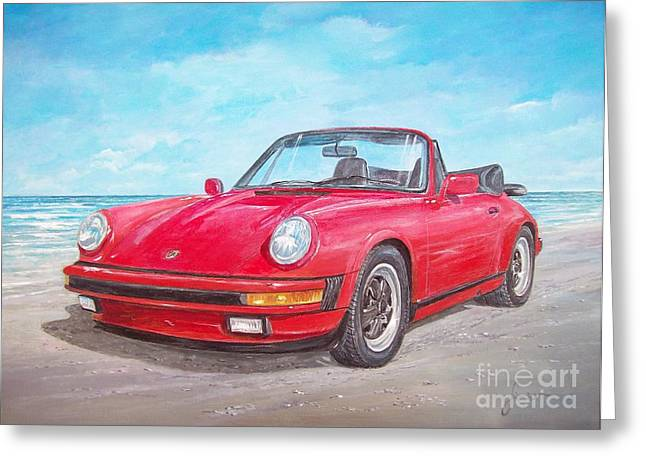 1987 Paintings Greeting Cards - 1987 Porsche carrera cabriolet Greeting Card by Sinisa Saratlic