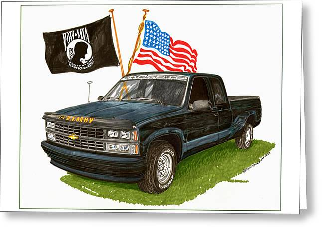 Tribute Drawings Greeting Cards - 1988 Chevrolet M I A Tribute Greeting Card by Jack Pumphrey