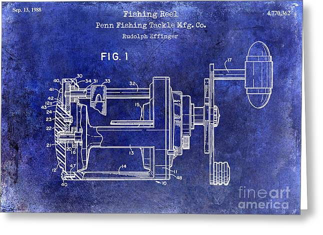 Naples Greeting Cards - 1988 Penn Fishing Reel Patent Drawing Blue Greeting Card by Jon Neidert