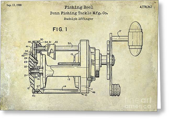 Large-mouth Bass Greeting Cards - 1988 Penn Fishing Reel Patent Drawing Greeting Card by Jon Neidert