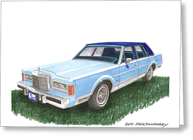 Car Part Paintings Greeting Cards - 1989 Lincoln Towncar Greeting Card by Jack Pumphrey
