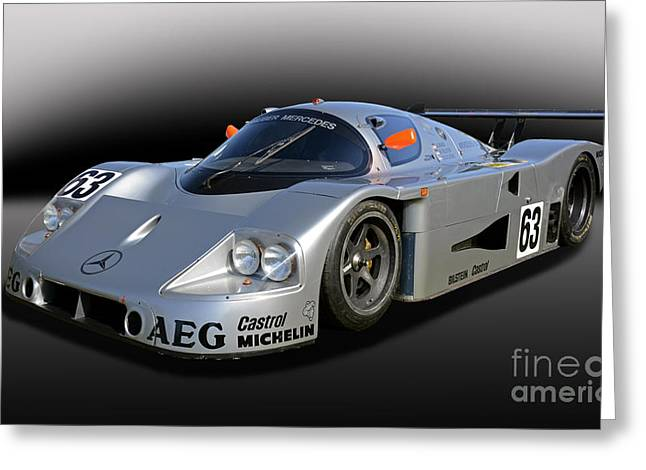 Sauber Greeting Cards - 1989 Sauber Mercedes C9 Greeting Card by Tad Gage