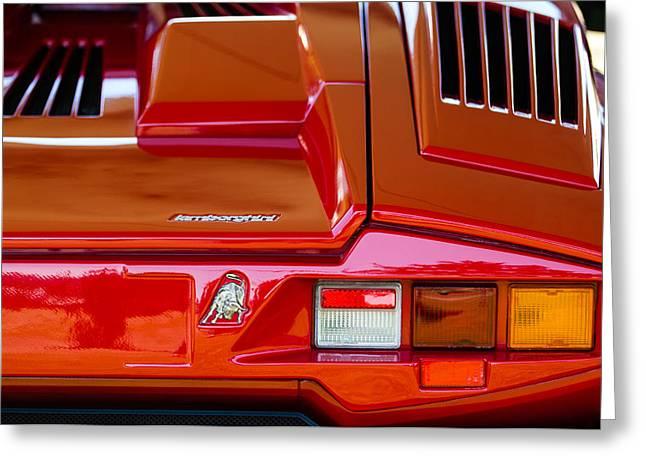 1990 Greeting Cards - 1990 Lamborghini Countach Taillight Emblem Greeting Card by Jill Reger