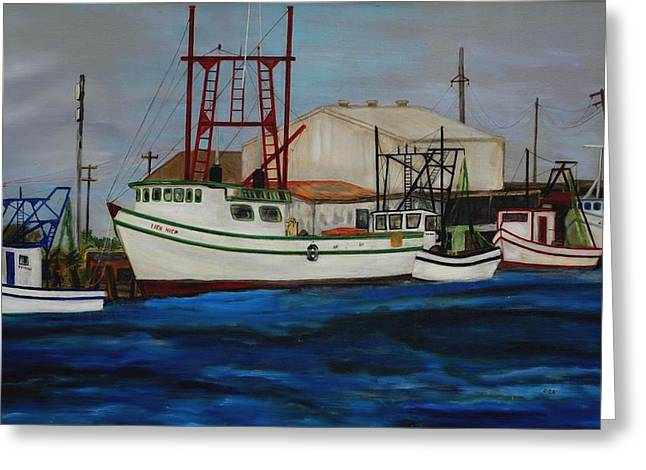Tin Roof Greeting Cards - 1990s Shrimp Boats Primary Colors Parade at the Dock Greeting Card by Deborah DR Kralich