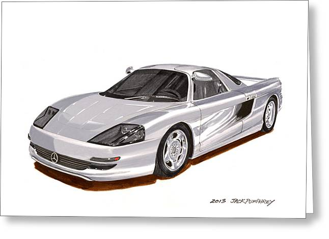 Experiment Paintings Greeting Cards - 1991 Mercedes Benz C 112 Concept Greeting Card by Jack Pumphrey