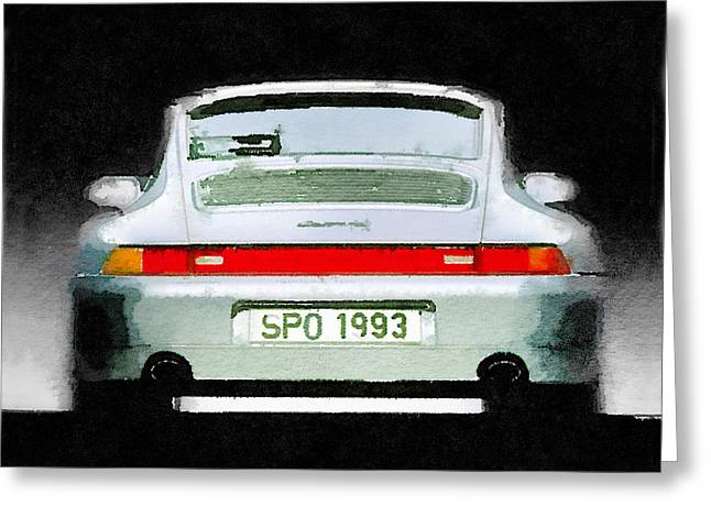 Classic Porsche 911 Greeting Cards - 1993 Porsche 911 Rear Watercolor Greeting Card by Naxart Studio