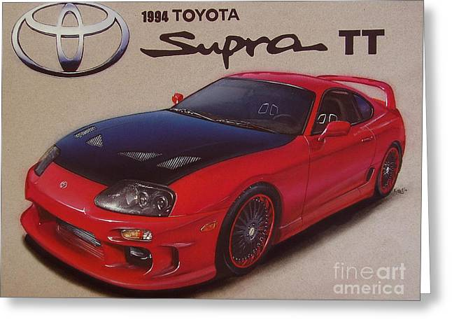 Script Drawings Greeting Cards - 1994 Toyota Supra Greeting Card by Paul Kuras