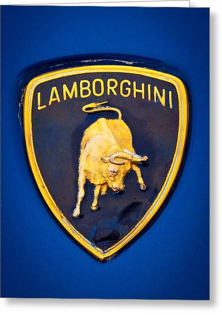 Radiator Badge Greeting Cards - 1995 Lamborghini Diablo Emblem Greeting Card by David Patterson