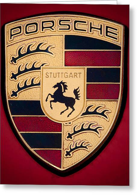 Collector Hood Ornament Greeting Cards - 1995 Porsche 911 C-2 Emblem Greeting Card by David Patterson