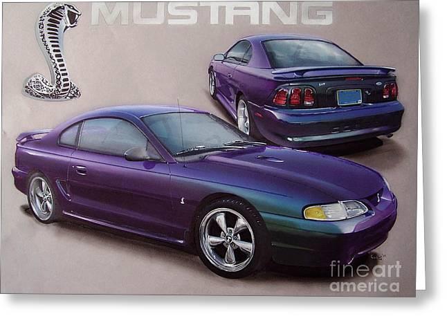 Mystic Drawings Greeting Cards - 1996 Mystic Mustang Greeting Card by Paul Kuras