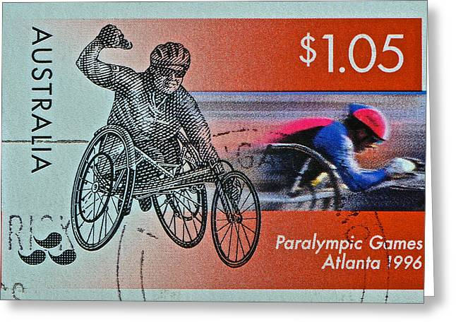 Physically Greeting Cards - 1996 Paralympic Games Australia Stamp Greeting Card by Bill Owen