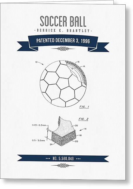 Player Digital Greeting Cards - 1996 Soccer Ball Patent Drawing - Retro Navy Blue Greeting Card by Aged Pixel
