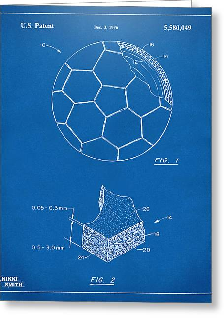Football Art Greeting Cards - 1996 Soccerball Patent Artwork - Blueprint Greeting Card by Nikki Marie Smith