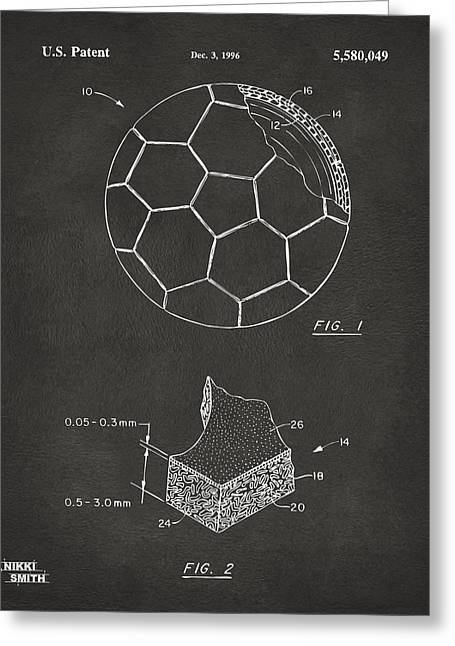 Sports Fan Greeting Cards - 1996 Soccerball Patent Artwork - Gray Greeting Card by Nikki Marie Smith