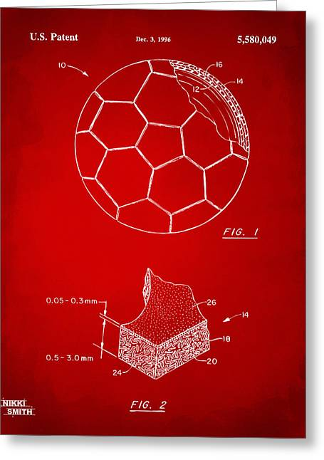 Football Art Greeting Cards - 1996 Soccerball Patent Artwork - Red Greeting Card by Nikki Marie Smith