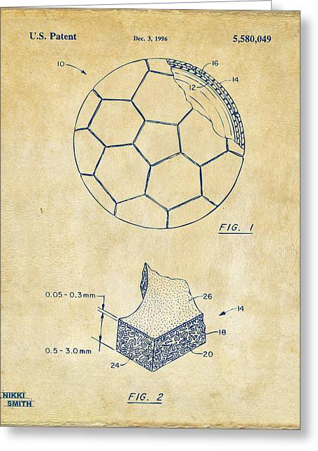 Football Art Greeting Cards - 1996 Soccerball Patent Artwork - Vintage Greeting Card by Nikki Marie Smith