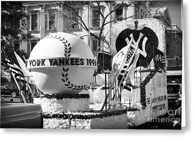 Bronx Bombers Greeting Cards - 1996 Yankees Float Greeting Card by John Rizzuto