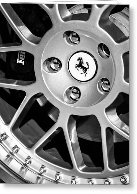 1997 Ferrari F-355 Spider Greeting Cards - 1997 Ferrari F 355 Spider Wheel Emblem -125bw Greeting Card by Jill Reger