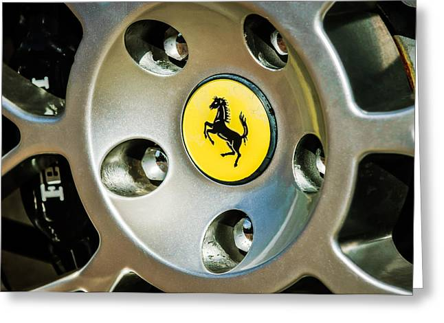 1997 Ferrari F-355 Spider Greeting Cards - 1997 Ferrari F 355 Spider Wheel Emblem -201c Greeting Card by Jill Reger