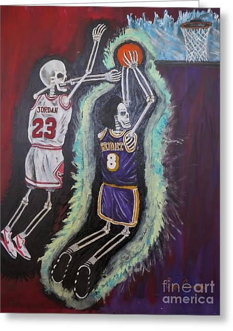 The Lakers Greeting Cards - 1997 Kobe vs Jordan Greeting Card by Visual  Renegade Art