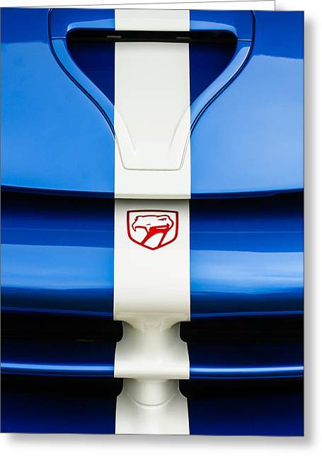 Transportation Greeting Cards - 1998 Dodge Viper GTS-R Grille Emblem Greeting Card by Jill Reger
